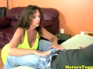 Cougar whips out a young studs thick cock