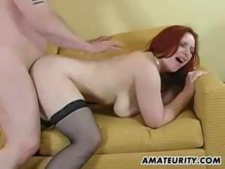 A hot busty amateur girlfriend in stockings sucks and fucks with cumshot on...