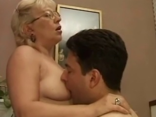 Well aged babe in glasses gets her pussy and asshole penetrated by a young...