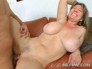 Super excited naked busty MILF fucked hard in her wet slit cums