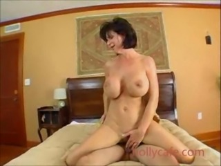 Nerdy milf with huge rides a fat veiny meat pole