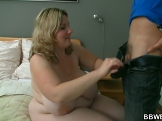 Huge titted plumper sucks big cock before sex