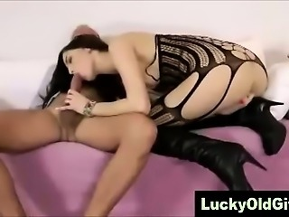 Young woman in high heels rides older British cock
