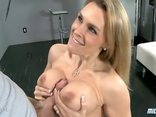 Hot British MILF Tanya Tate gets titty fucked and fucked hard before she is...