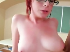 Hot and very horny redhead spectacled girl Zoey Nixon is having sex with...