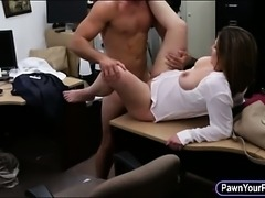 Foxy business lady with big boobs fucked in a pawnshop