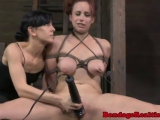 Breast bondage sub getting pussy toyed while restrained spreadeagle