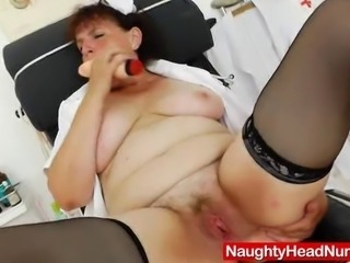 Amazing solo action in addition to our hot brunette grandma Marsa, who fucks...