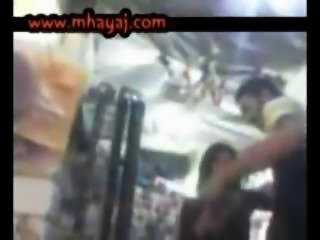 Egyptian guy and girl making sex in a shop on the road
