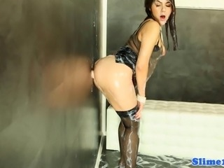 Valentina Nappi writhing in bukkake mess at the gloryhole