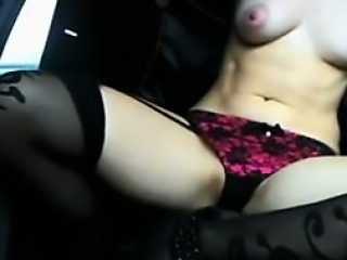 Whore Flashes Her Tits And Pussy In Her Car