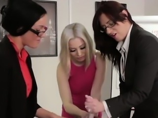 Clothed office dominas tug dick
