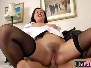 Hairy slut in stockings fucks and sucks with cumshot