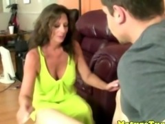 Bigtit brunette milf buffing his nob