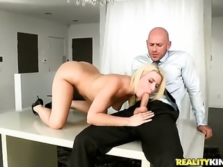 Blonde Annika Albrite with big butt asks Johnny Sins to shove his erect...