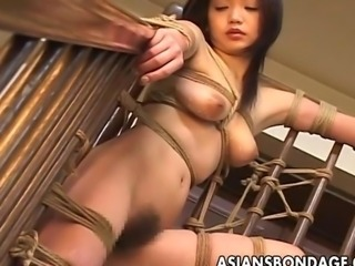 Luscious Japanese sweety moans during a wild bondage session