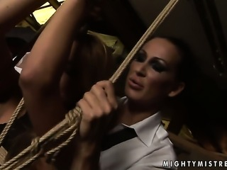 Brunette Mandy Bright with massive hooters offers her love tunnel to lesbian...