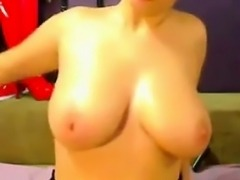 Hot Cam Girl Slapping Her Breasts