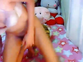 Brunette Tranny Jerks Off her Hard Cock