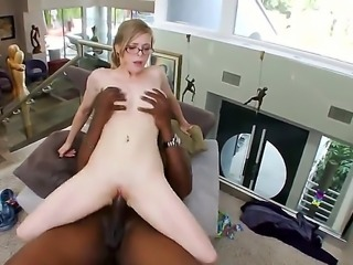 Innocent looking nerdy blonde bookworm Penny Pax with natural knockers and...