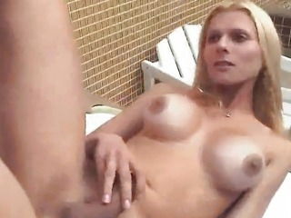 Busty blonde shemale babe getting fucked in the ass