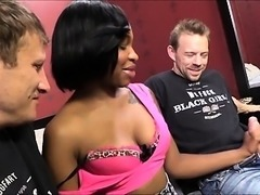 Horny ebony Nikki Ford hard fucking with two white cocks
