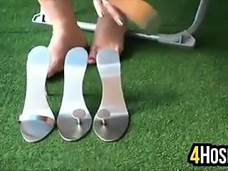 Feet In Metal High Heels