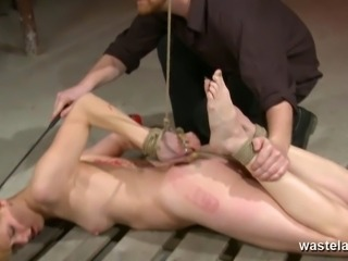 Ginger women tied up and fingered by dungeon master