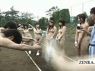 Subtitled outdoor CMNF Japanese nudist love confessions