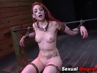 Mouth fucked wam bound slave gets pussy toyed in hi def