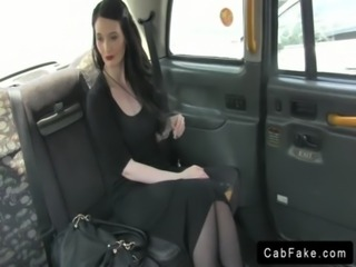 Dark haired babe in black dress banging in fake taxi free