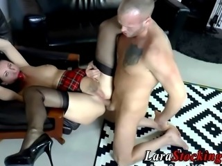 Gagged stockings milf gets ass fucked and cummed on
