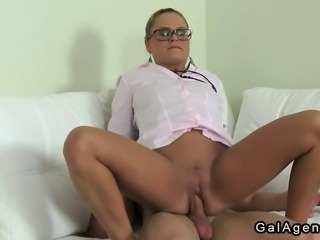 Blonde female agent with glasses interviews hot amateur dude then sucks his...