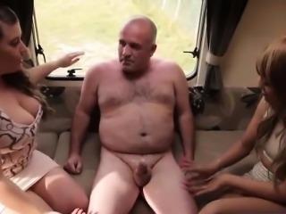 Dressed up hotties tug fat naked creep