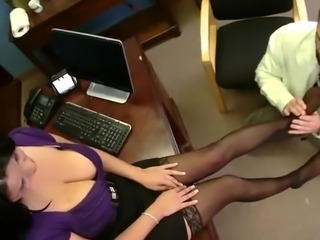 Mature girl close to giant Melons has An Office nail