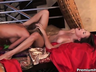 Angelic tart Celeste Star enjoys another lesbian sex session with her friend...