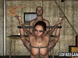 Jaw dropping restrained and hanging 3D cartoon brunette vixen gets her pussy...