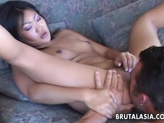 Gorgeous Asian babe with a pair of small natural tits gulps her raunchy...