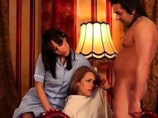 Fetish nurse aids cumshot on hottie