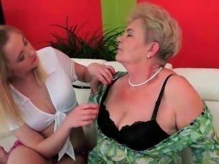 Busty fat grandma loves cute young girl