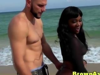 Big booty ebony babe gets a facial