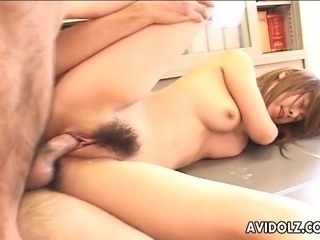 Two sweet Japanese girls suck on stiff throbbing dicks. One of them bends...