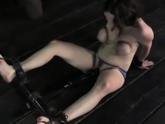 Breast bondage sub getting pussy toyed