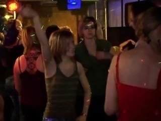 Drunk cheeks engulfing knob in club