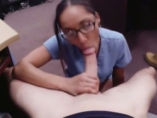 Desperate nurse fucked by pawnkeeper inside the office