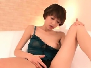 Morning masturbation with asian cute and a pink dildo