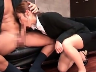 Horny Asian office babe orally pleasing her boss on knees