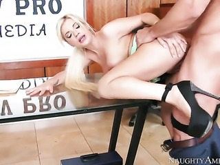 Johnny Castle uses his sturdy pole to make Bibi Noel with massive boobs and...
