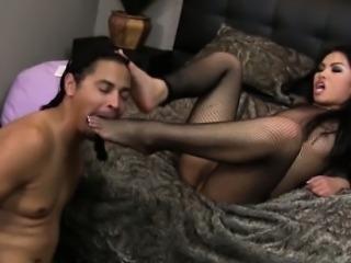 Feetworshipped asian riding hard cock
