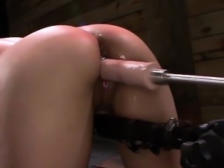Restrained slave slammed and toyed